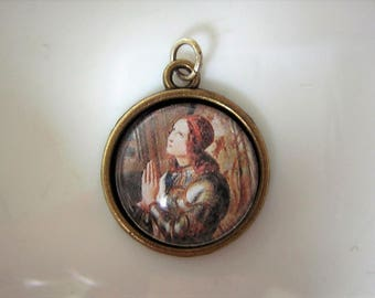 """Saint Joan of Arc,  religious  medal, brass and convex glass. 0.75"""""""
