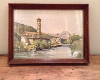 Vintage Mountian Village Print with Nice Glass Covered Frame