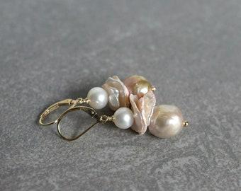 Baroque pearl drop earrings, keshi pearl earrings, pearl jewelry gift, Summer earrings, bridal earrings, 14k gold fill lever back ear wires