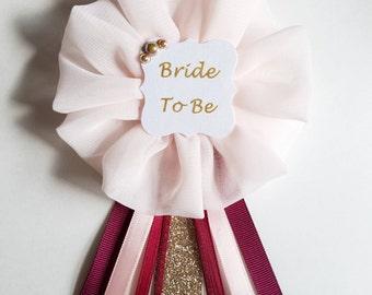 Burgundy, Blush and Glitter Gold Polka Dots Bride to Be Pin Bridal Shower Mrs To Be Ribbon Pin