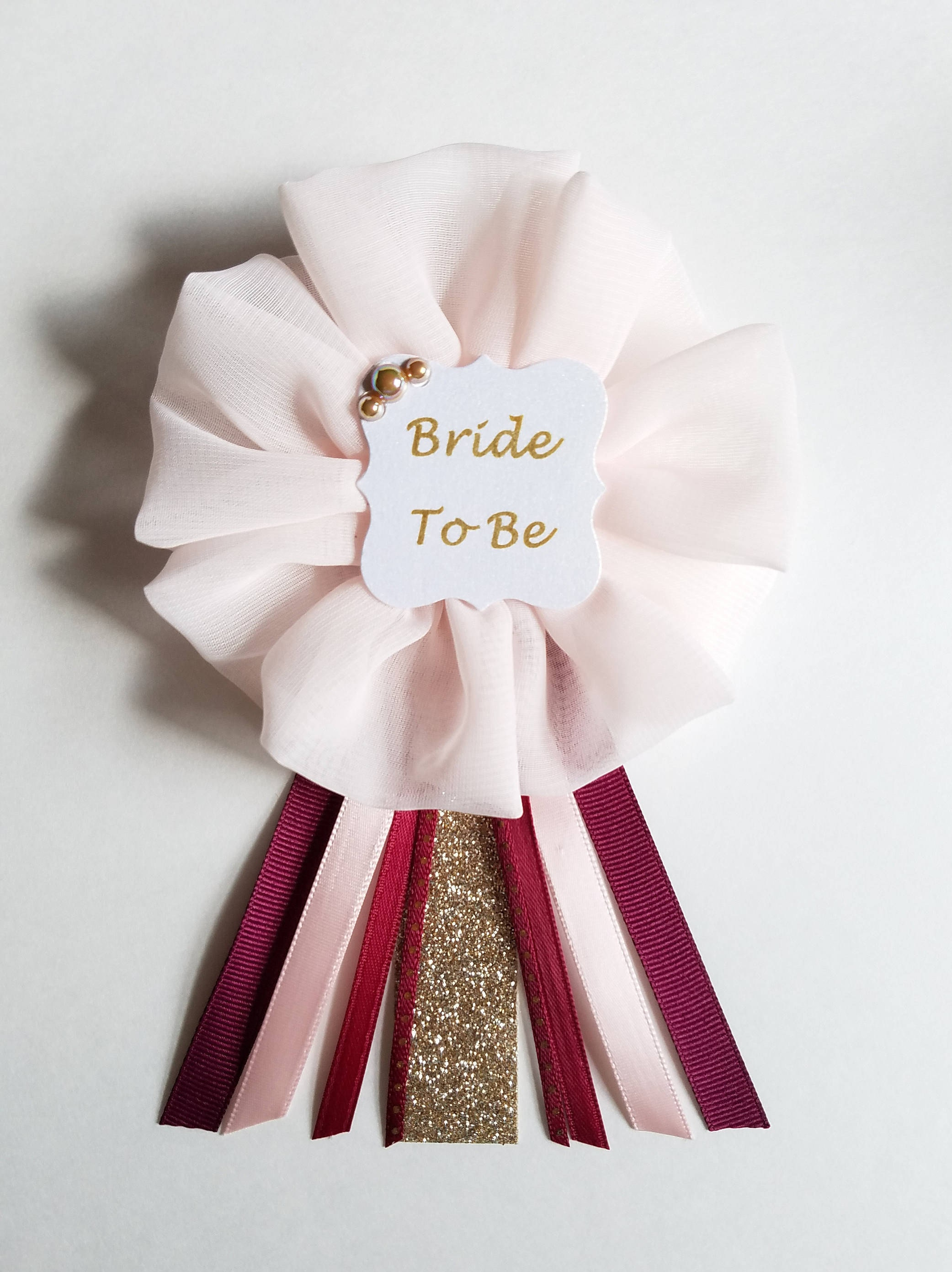 Burgundy Blush and Glitter Gold Polka Dots Bride to Be Pin