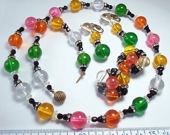 Vintage Multi Color Fruit Salad Lucite with Rhinestone Rondells Necklace with Matching Earrings Jewelry Set - 1950's Retro (j6717)