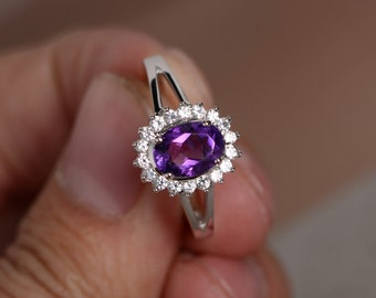 Natural South Africa Amethyst Ring Sterling Silver Ring February Birthstone Ring Engagement Ring