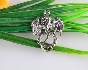 Wholesale~Dragon pendants in antique silver , dragon charms bracelet or necklace connector pendant,single side  28x35 mm C7000