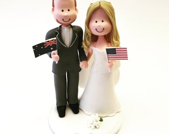 Cute wedding cake topper - flags - travel theme