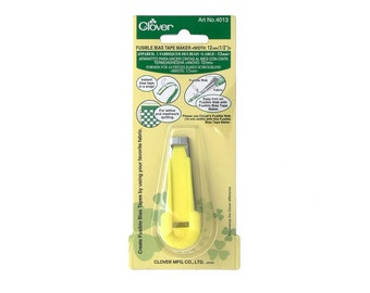 """Clover 12mm (1/2"""") Fusible Bias Tape Maker - Yellow Bias Tape Maker, Quilting, Patchwork, Sewing, Bias Tape for Sewing and Patchwork"""