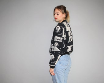 90s Black and White Graphic 1990s faces Printed Bomber Jacket -  90s  Bomber Jacket  - 1990s Bombers - W00324