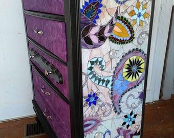 Paisley Mosaic Dresser decoupage purple blue pink