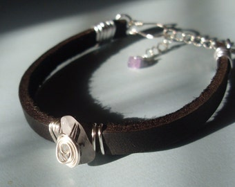 Leather Tourmalinated Quartz Bracelet