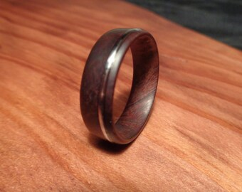 Wood Ring,Manzanita Wood Ring with guitar string Inlay,Handmade Wooden Band,Manzanita Jewelry, Manzanita Ring, Wedding Ring, Engagement Ring