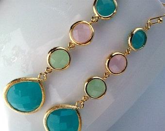Mint Long Gold Dangle Earrings,Drop, Dangle,Glass Earrings,Gemstone earring bridesmaid gifts,Wedding jewelry,Mother's day gift