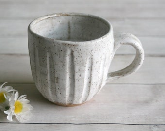 Rustic Stoneware Mug in Matte White Glaze Hand Carved Pottery Coffee Cup 12 oz. Ready to Ship Made in USA