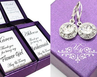 Set of 3 Set of 4 Set of 5 Set of 6 Wedding Jewelry Wedding Earrings Bridesmaids Swarovski Crystal Dangle Earring Rhinestone Earrings - ORLA