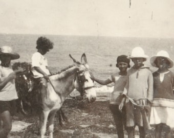 2 small photos-donkey children 1900 promade country and beach photography enthusiast and original vintage sepia