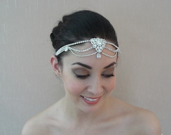 Forehead Rhinestone Headpiece with CZ Cubic Zirconia Charms, Extender Chain and Clasp on the back - Ships in 1 week