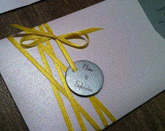 """Card """"will you be my bridesmaid / my witness"""" silver, white and Yellow Sun"""