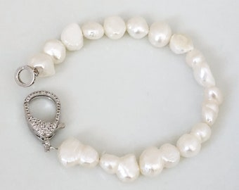 Gold or Silver Rhinestone Lobster Clasp with Fresh Water Pearls   Bridal Bracelet