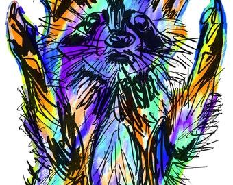 "Raccoon(4B) Giclée Print - Cavanata - 8"" X 10"" Raccoon Graphic Fine Art Print, Original Illustration, Animal Art"