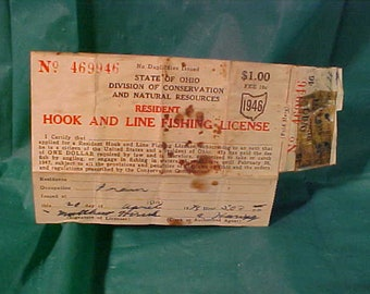 Ohio Resident 1946 Hook and Line Fishing License
