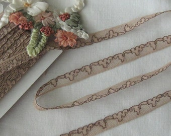 Petit Older Vintage French Lace - Mocha Colored - Perfect for Crafts, Sewing, Dolls, Teddy Bear, Crazy Quilt - By the Yard