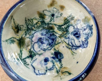 Porcelain Blue and Cream  Natural Floral Designed Bowl