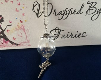 Dandelion Wishes & Fairy Kisses Necklace with Fairy Charm. **Limited availability**