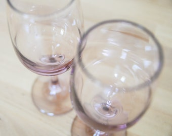 Pink Wine Glasses • Pair Set of Two • Rose Blush Mauve • Barware Stemware Drinkware • Goblets Glassware • Champagne Toast • Libbey Stems