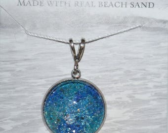 Seasons of Maine Summer Beach Sand Pendant Made in Maine with sand from Old Orchard Beach Maine