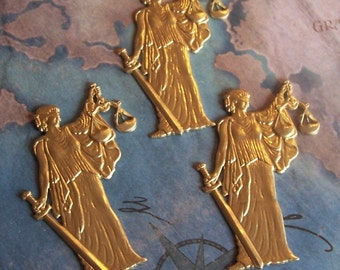 1 PC Brass LARGE - Blind Lady Justice  Finding - N0314