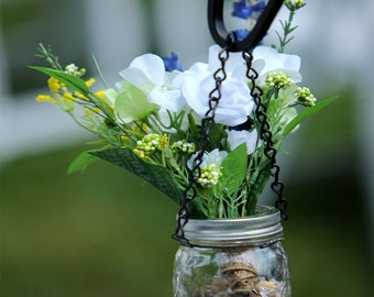 3 Hanging Mason Jar Kits-- 3 sets of wire and chain to hang three mason jars, for lights, candles, flowers, vases, DIY wedding decor