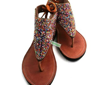Leather Sandals, African sandals, Maasai sandals,Sandals, Beaded sandals, Kenyan sandals, Handmade sandals, gift for her