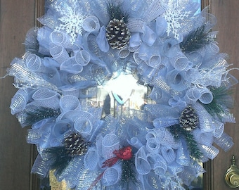 Silver Deco Mesh Winter Wreath Custom made