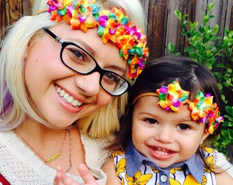 Mommy and Me matching bright neon colored Flower Power Headbands - Flower Crown - Halo