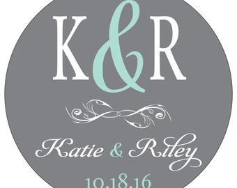 160 - 2 inch Personalized Glossy Waterproof Wedding Stickers Labels - many designs to choose from - change designs to any color WR-090