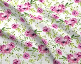Pink Floral Watercolor Fabric - Pink Flowers By Juliabadeeva - Watercolor Baby Girl Nursery Cotton Fabric By The Yard With Spoonflower