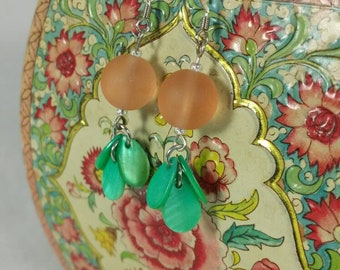 Apricot balls, mint green teardrops dangle earrings