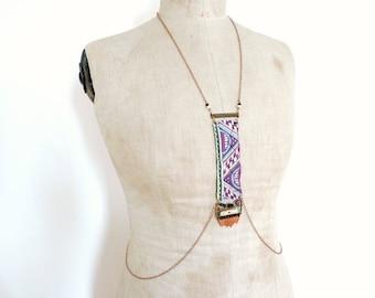 Bijou chaine de corps harnais unique style hippie bohème chic  -  Yiska