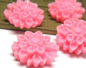 Strawberry Pink - Vintage, Lucite Plastic, Pink, Dahlia Cabochons 16mm - Pc 4