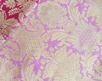 Lavender Purple Indian Gold Brocade Material, 5 Meters for Indian Wedding Lengha Purple Indian Sari Indian Jewelry, Gold Brocade Fabric