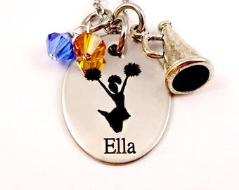 Cheerleader Necklace - Cheerleading Jewelry Personalized - Megaphone - Team Colors - Engraved - Cheer Mom Coach Team