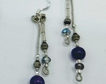 Gray resistor earrings with round purple bead