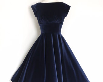 Midnight Blue Velvet Evening Dress with Circle Skirt and Cap Sleeves - Made by Dig For Victory