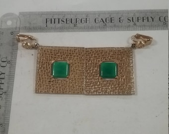Large square goldtone dangle earrings stone centers