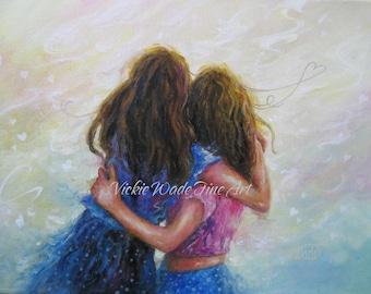 Two Sisters Art Print, two girls wall art, two girls hugging, best friends wall art, girlfriend gift, loving sisters art, Vickie Wade art