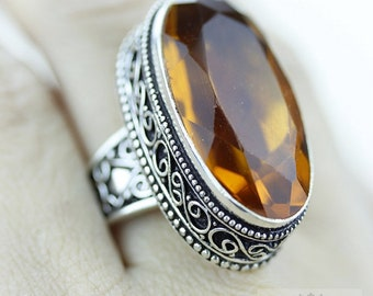 Size 8.5 - HEAT Treated  CITRINE S0LID (Nickel Free) Silver Vintage Setting Ring  R1794