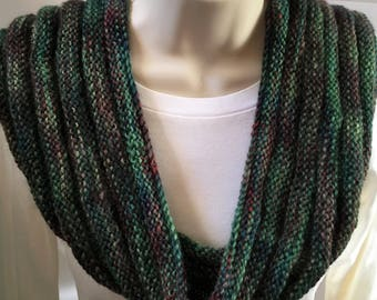 Jewel tone cowl, soft infinity scarf in rich green and purple tones; wool mohair blend