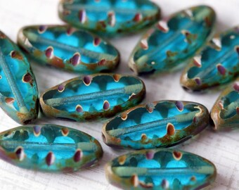 17x8mm Carved Spindle Czech Glass Beads - Capris Blue Spindle Beads - Oblong Oval Beads - Bead Soup Beads