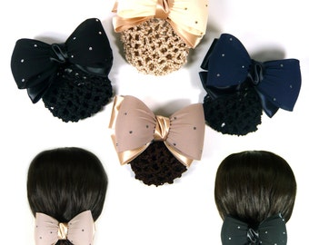 Elegant Chiffon Satin Ribbon Bow Knot Bun Holder Hair Cover Snood Net Barrette Clip Pin Formal Hairnet Accessory Women Lady Girl Fashion New