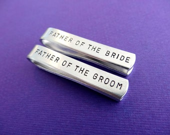 Tie Clip Wedding Set - Father of the Groom Tie clip - Father of the Bride Tie clip - Personalized Tie Bars