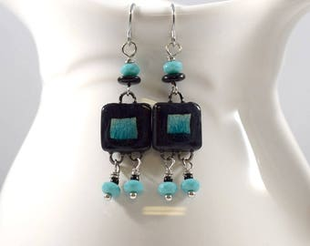 Handmade Earrings, Black and Turquoise Earrings, Square Earrings, Ceramic Earrings, Artisan Earrings, Boho Chic Earrings, AE056